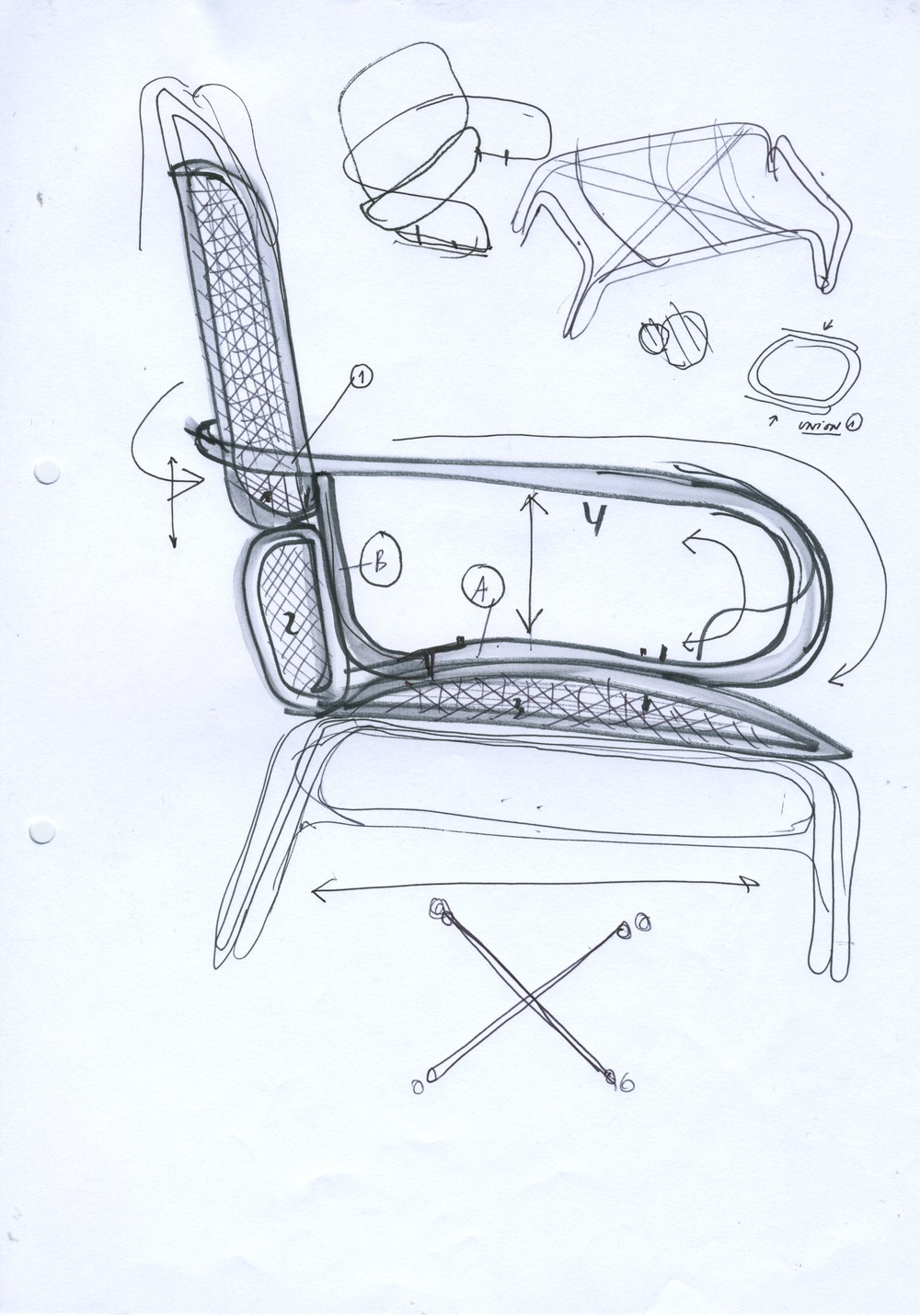 Jaime Hayon's sketch for his new 'Frames' armchair for Spanish brand, Expormim. Expormim specialise in bent rattan.
