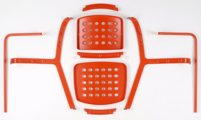 Barber Osgerby's 'De La Warr Pavilion' chair in it's component parts.