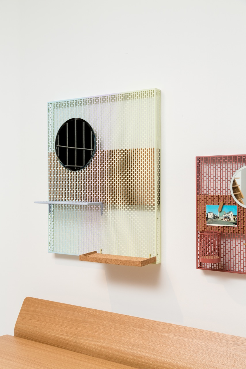 French designer, Inga Sempe's new pieces for Hay called 'Pinboard' used a fine rectangular grid pattern and incorporated cork and magnetically attached accessory items like mirrors and pen holders. Not yet released but available soon.