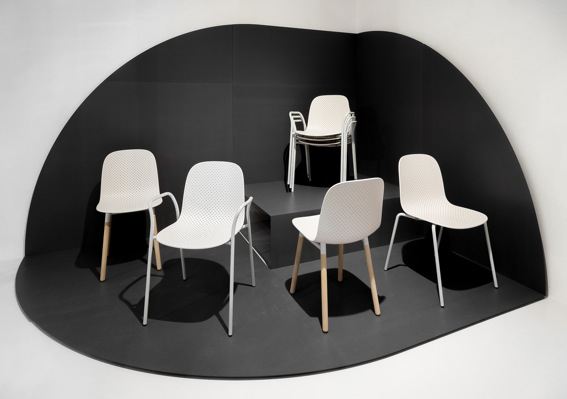 Scholten & Baijing's 'Dot' chair for Hay with the various base and arm types shown.