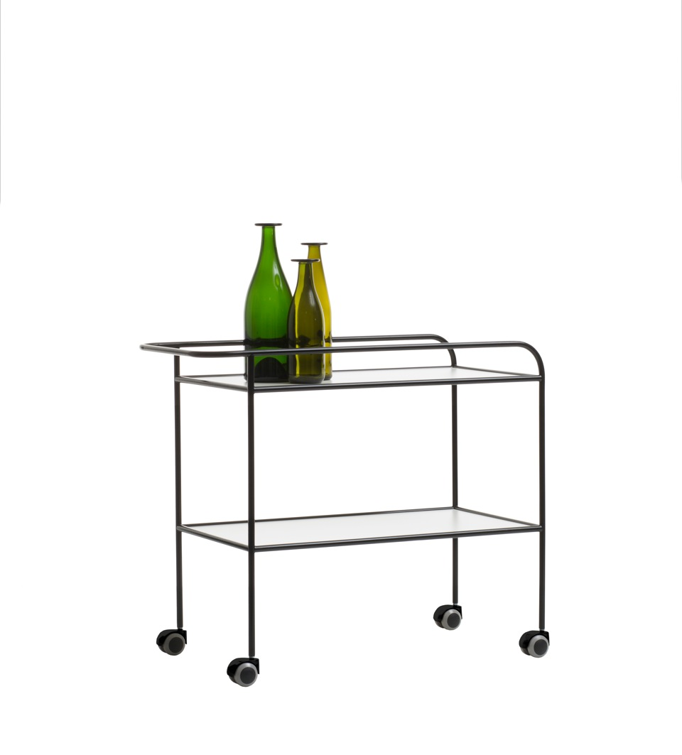 Shiro Kuramata's 1973 'Steelpipe' drinks trolley, reissued by Cappellini.