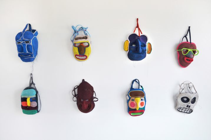 A small selection of the masks Pot has produced over the years - all sewn by hand in his studio.