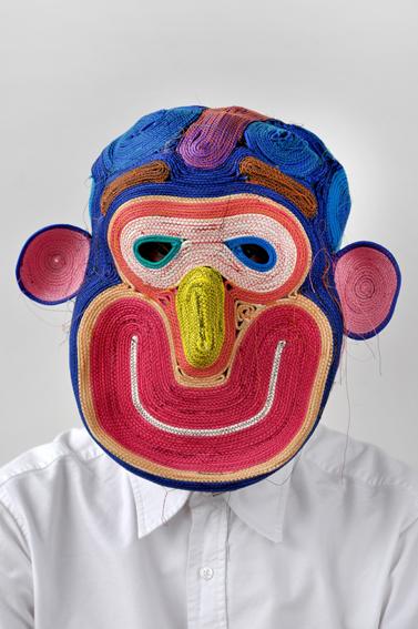 Bertjan Pot posing in one of his masks.