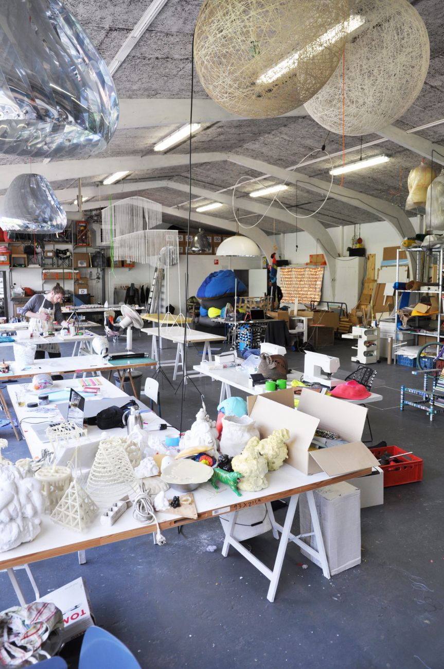 Studio Bertjan Pot. A creative jumble of  prototypes, materials and tools.