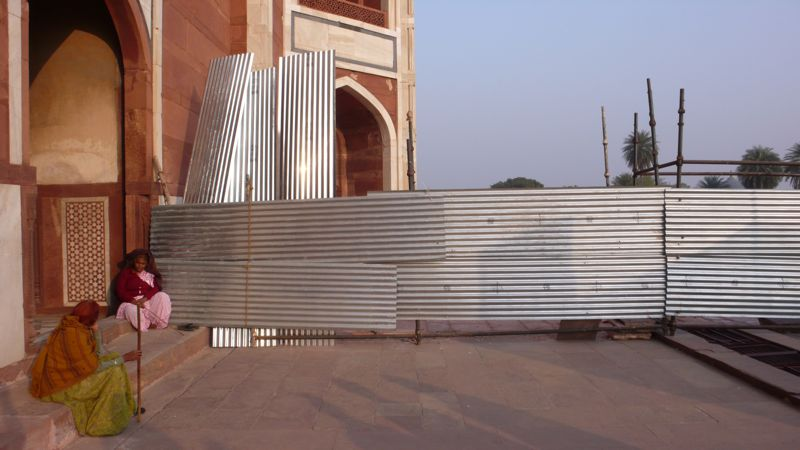 Entrance to Humayun tomb, Delhi. An example of the improvised structures in corrugated iron that inspired 'Shanty'.