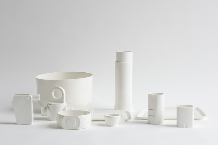 The full 'CADCAM' tableware range by Minale Maeda in a transparent gloss glaze.