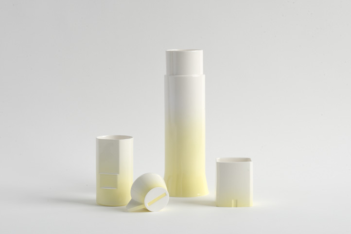 The yellow gradient glazed version of Minale Maeda's 'CADCAM' tableware range.