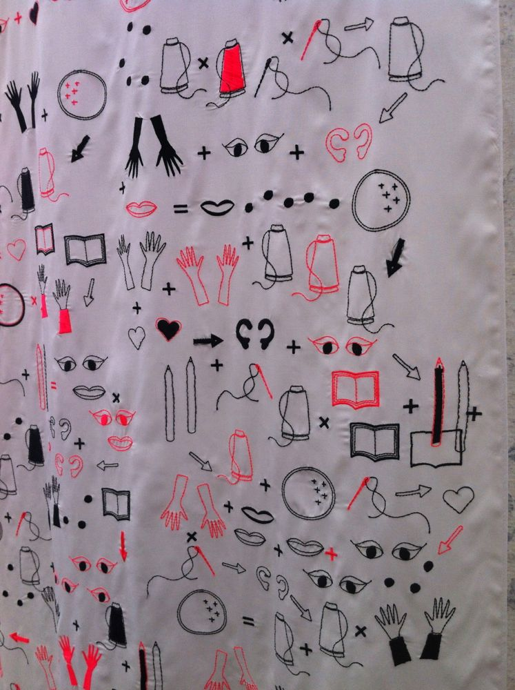 Claire Beale's digitally embroidered  textile 'Wearing your heart on your sleeve'.