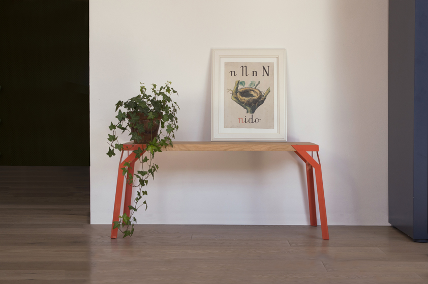 One of the new pieces from the 2014 collection is the bench, 'Camo' - a steel framed table or bench that comes in three heights and sizes for stacking and in a variety of colours.