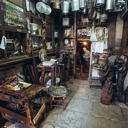 Nino Ciminna's workshop in Sicily is an Aladdin's Cave of vintage paraphernalia.