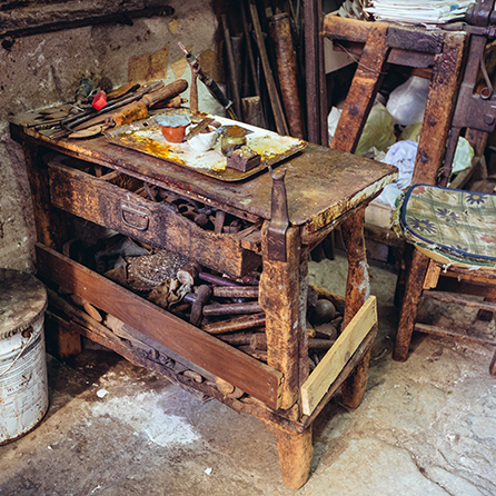 Nino Ciminna's ancient workshop is full of the history of his tin making craft.