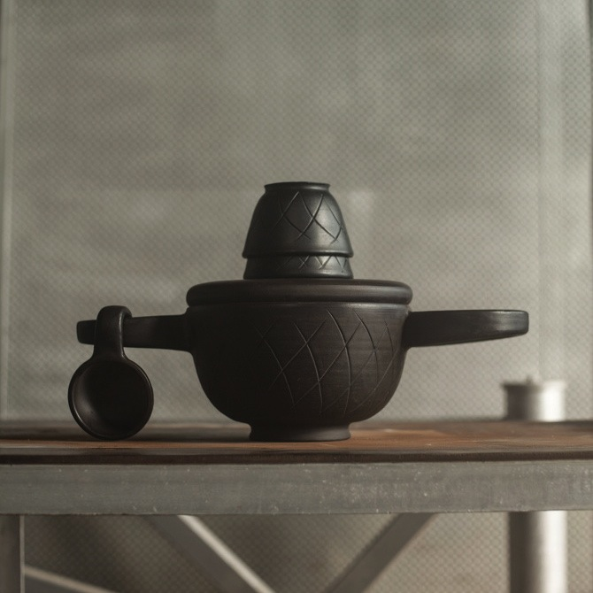 The 'Cheburashka' is a contemporary take on a traditional Russian eating utensil. Like a lidded casserole with exaggerated arms for ease of carrying and a lid that doubles as a serving plate, the design is all about sharing food with others.