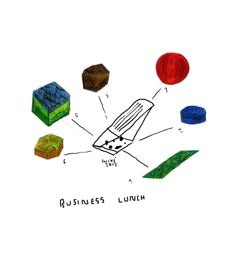 Spanish designer, Marti Guixé's drawing for his 'Business Lunch' proposal for gallery Oh. Eventually realised in paper and wood, the objects appear like bijoux chocolates in a folded cardboard platter.
