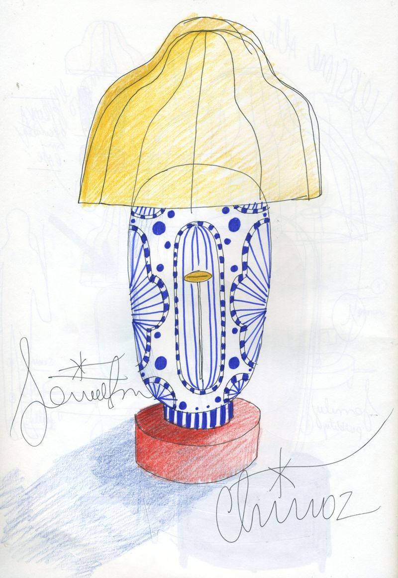 A sketch for Hayon's 'Chinoz' table lamp. Very much in his signature circus-like style, the hand painted ceramic base is made by long term collaborator, Bosa Ceramiche.
