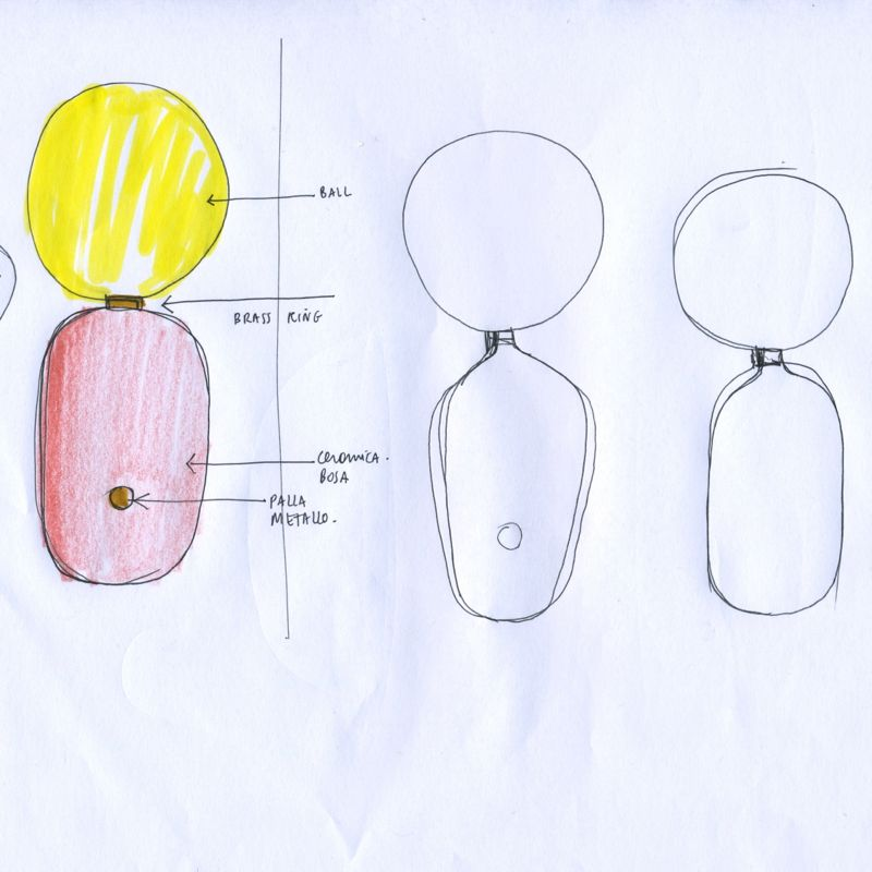 Hayon's sketch for his 'Aballs' collection. The gloss glazed ceramic base is topped with a head-like spherical glass diffuser. The belly button style brass dimmer adds an additional human element.