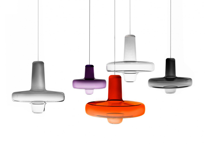 The 'Spin' lights by Koldova for Lasvit 2013.The colour graduates from dark to light down the form.