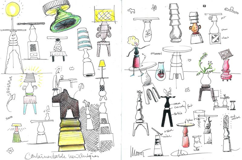 Ideas for the 'Container - New Antiques' items from Marcel Wander's sketchbook.