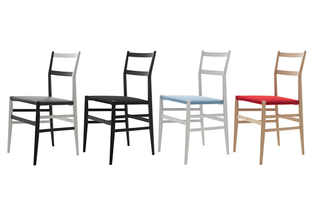 Upholstered versions of the 'Superleggera' chair in natural ash and lacquered in white or black - or a combination.