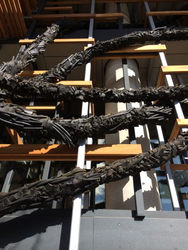 'Carbon' by Steven Siegel is an enormous site specific sculpture made from recycled rubber parts.
