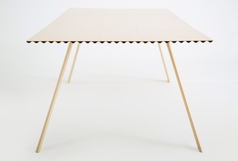 The first version of Hubert's 'Ripple' table weighed 9kg.