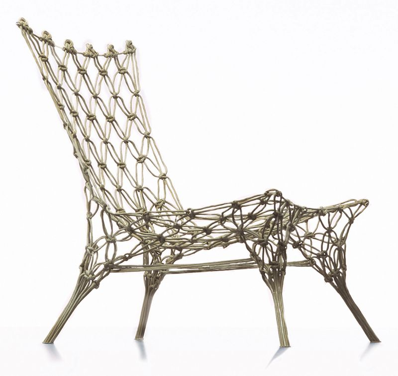 The 'Knotted' chair by Marcel Wanders was designed in 1996 for Droog. It uses resin and a type of rope.