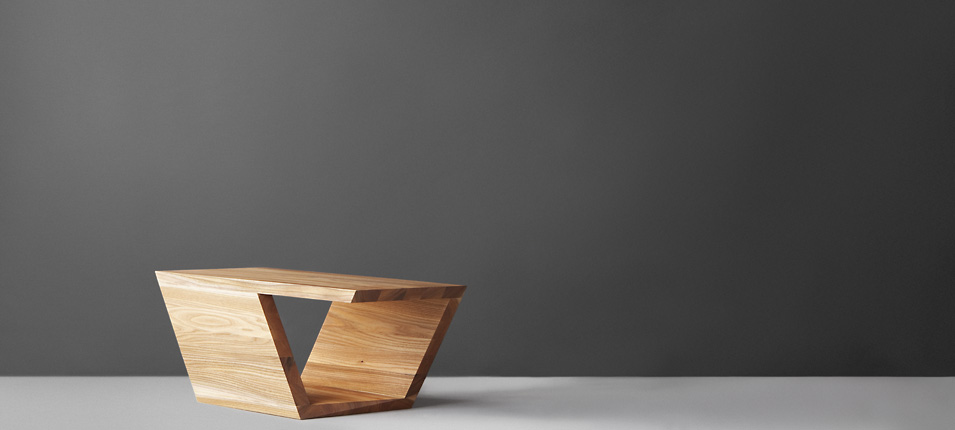 The Guangdong study resulted in a table by Fu Yang, made up of rhombus shaped panels . Multiple tables can be interlocked into numerous different configurations.