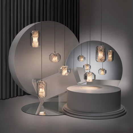 Broom's new 'Nouveau Rebel' pendants feature marble diffusers wrapped in crystal.