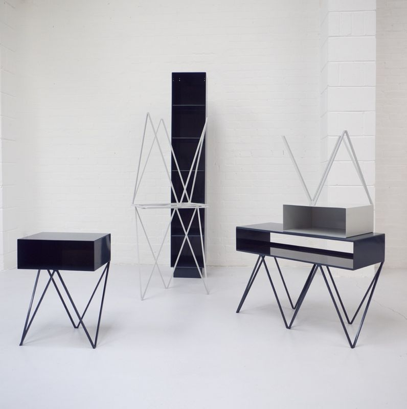 New British brand &New has created a whole collection using the idea of a zig-zag base of metal. Shown here are the 'Robot too' sideboard and 'Robot too' side tables.
