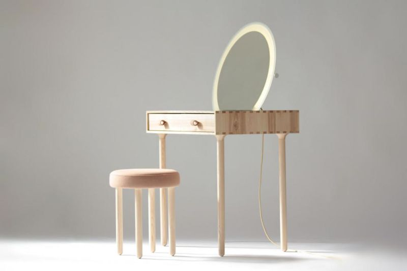 The 'Avignon No.2' Dressing table set includes an upholstered stool and a mirror with LED surround.