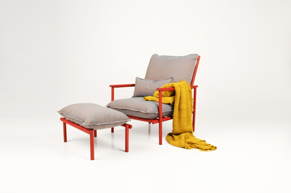 The new 'Prop Up' armchair and footstool from Swedish designers, Vera & Kyte.