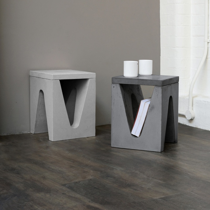 Tom Parfitt's 'Maya' side tables in concrete are part of 2014's  Heal's Discovers .