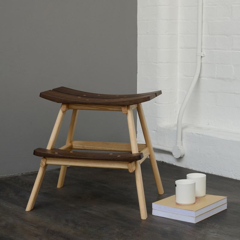 The 'Rickard' step stool by Luscombe and South features oak frame and a smoked oak seat and step.