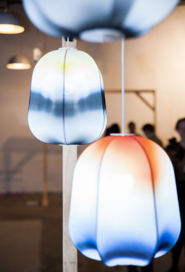 Dennis Abalos and fashion designer Haryono Setiadi collaborated on the 'Ombra' pendant light made from  digitally printed matt nylon lycra fabric that created a watercolour style effect.