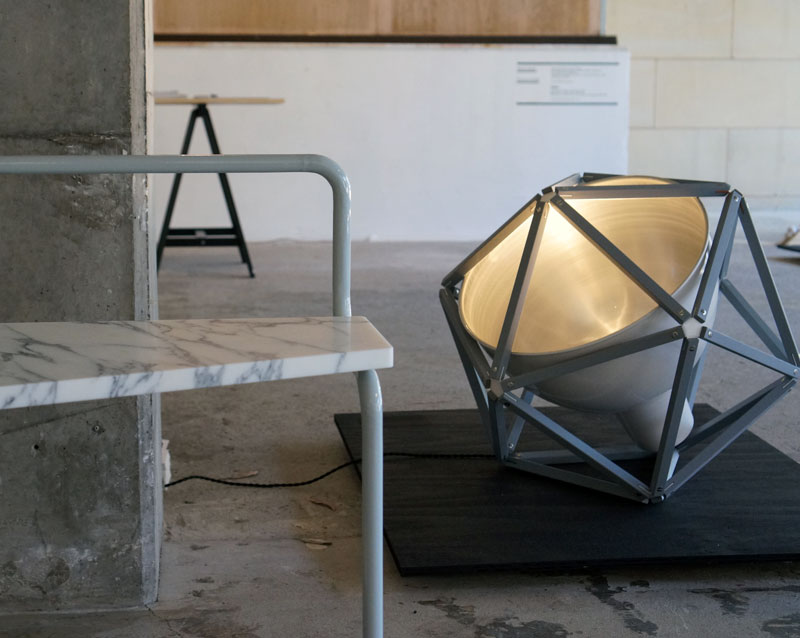 Henry Pilcher's 'Alonso' chair, (left) and 'Block 2' light (right).