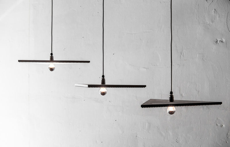 Coco's recent 'Bermuda' pendant light designs for Anomoly were shown as her individual work. Light is reflected up from half mirrored bulbs onto tightly grooved triangular shapes in an Axolotyl concrete finish.