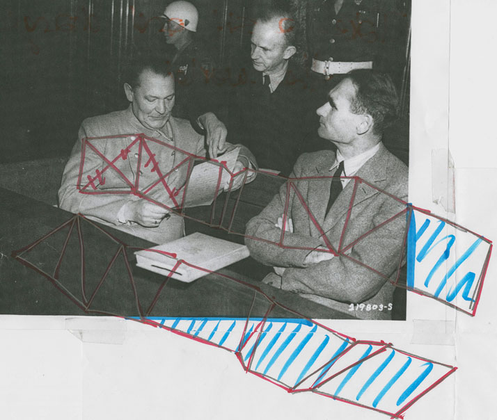 The marked up archive photograph of Herman Göring and Rudolf Hess (with Karl Dönitz) at the Nuremberg Trials 1945. The photograph informed the shape and  flow of  Seubert's 'Nuremberg Bench' .
