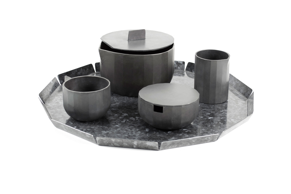The galvanised tea set with tray shows off the crystalline properties of galvanizing.