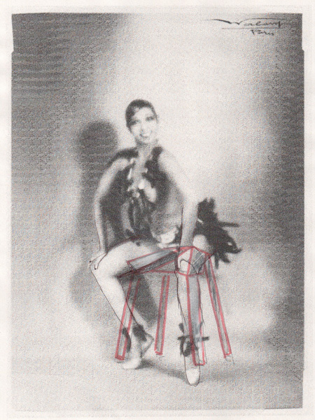 The marked up image of Josephine Baker creates the basic shape of the stool.