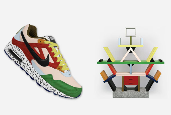 Just in case you were impatient to see what an Ettore Sottsass inspired trainer might look like. The NIke version, (Seubert also designed an Adidas version) and Sottsass' famous 'Carlton' room divider from 1981.
