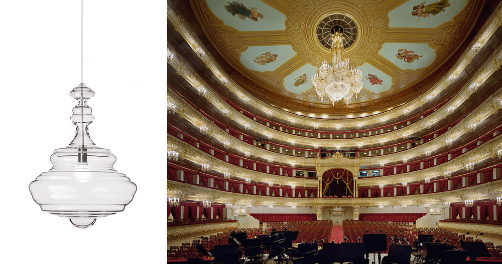 The 'Bolshoi' light by Jan Plechac & Henry Wielgus for Lasvit and the great theatre itself. Not the Bunnings version.