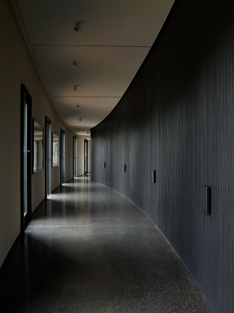 The curved shape of the walls that open onto an internal courtyard-like space is answered by a wall of slatted timber walls in charcoal stained timber, arching the opposite way.