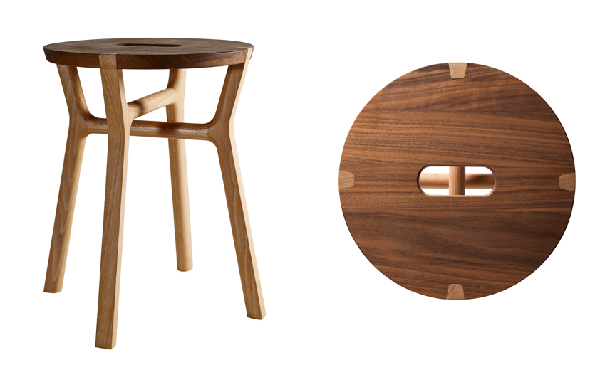 The 'Affi Stool' by Guilio Iacchetti for Internoitaliano. Show is the walnut and beech variation.