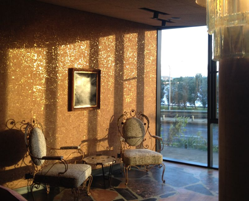 The new dining room and salon area brings cork, gold, perspex and terrazzo together in the best way possible. Photo: Karen McCartney.