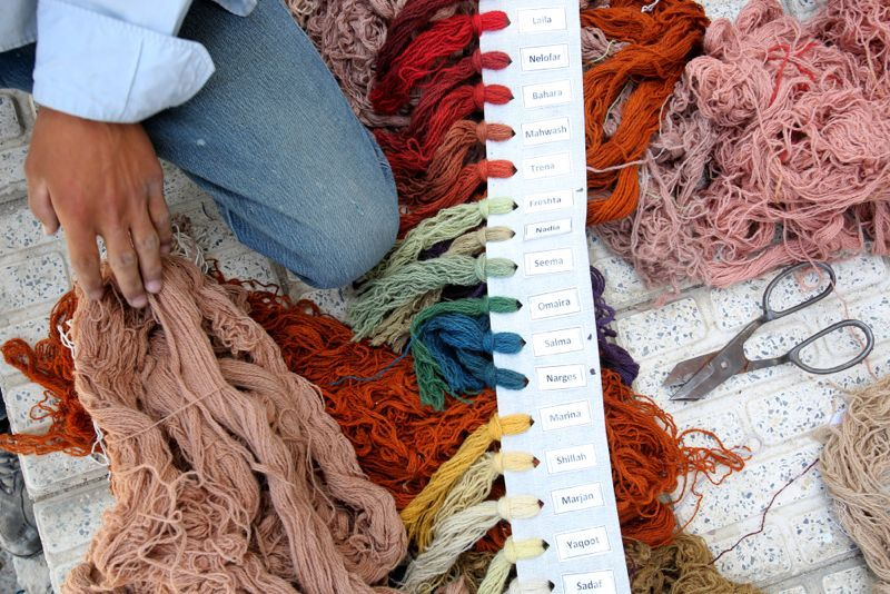 The range of hand dyed colours available. Each is carefully plotted on the design prior to hand-knotting.