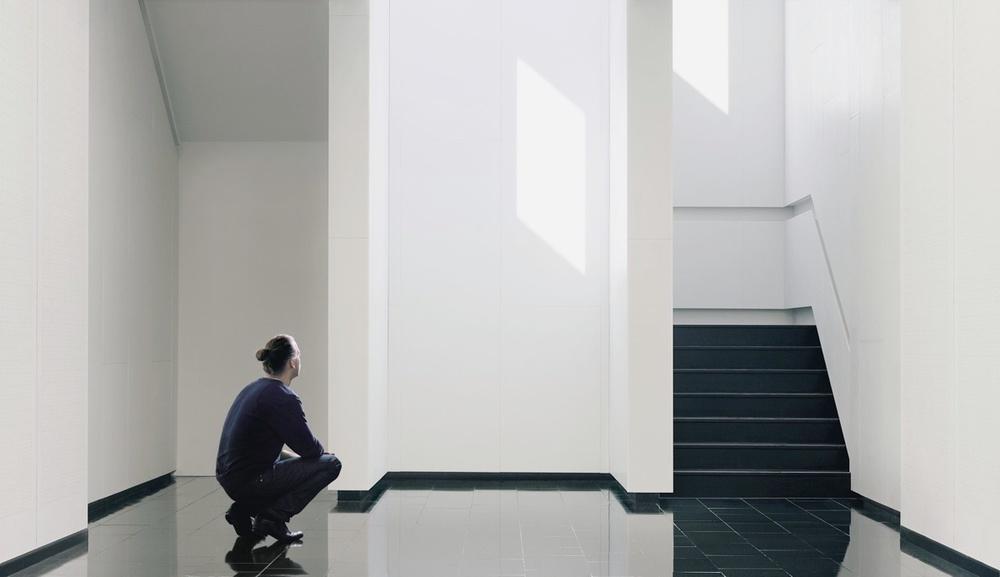 Daniel Rybakken pictured at his installation Daylight Entrance. Photography by Kalle Sanner and Daniel Rybakken.