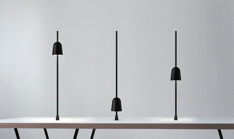 The 'Ascent' table light (without base) shown in three positions. It was first shown in Milan in 2013.