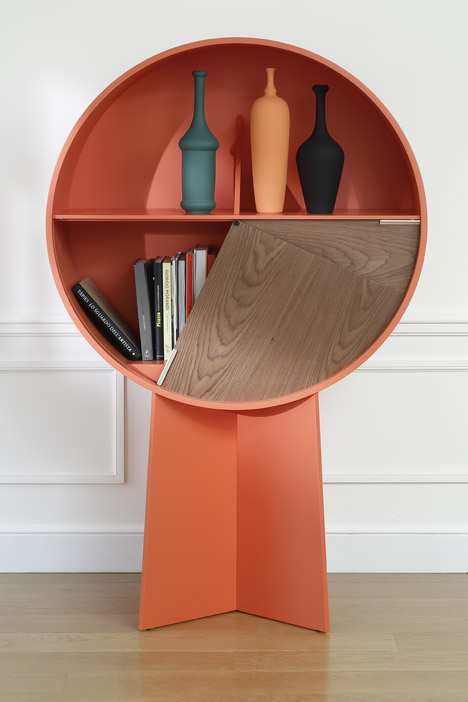 Patricia Urquiola's 'Luna' cabinet for COEDITION showing the pie-shaped pivoting doors.