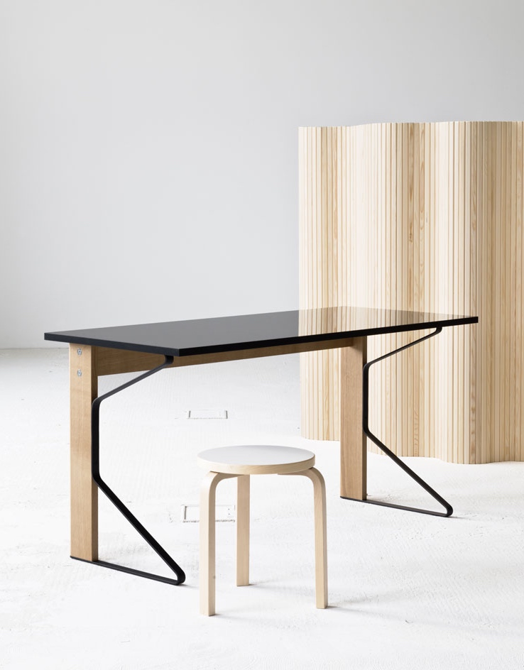 The 'Kaari' desk for Artek working seamlessly with a model 60 stool and timber screen by Alvar Aalto.  Photo: Bouroullec Studio.