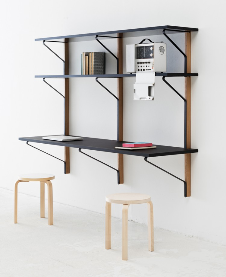 The 'Kaari' wall mounted shelving system for Artek with Aalto's model 60 stool. Photo: Bouroullec Studio.