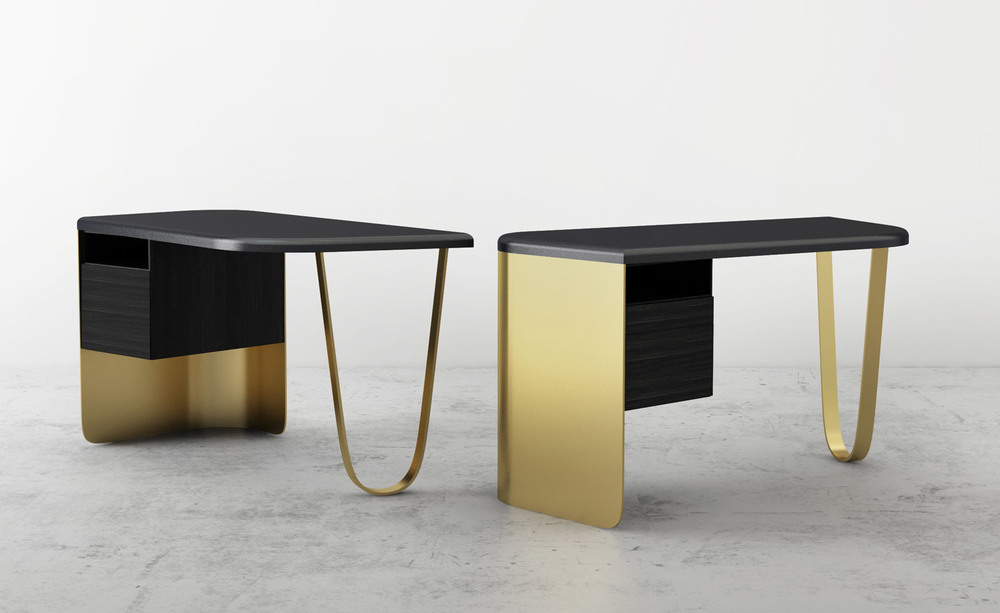 The 'Vessel 'desk by Charles Kalpaian. A Limited piece in brass, Corian and ebonised oak from Galerie BSL.